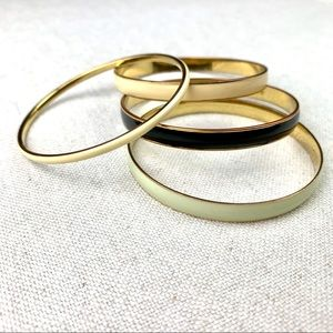 J.Crew Bangles Set of 4 Enamel Gold Tone Bracelets